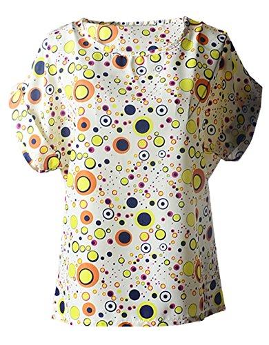 Casual Chiffon Stampa shirt Rotondo Blouse Giallo T Maglietta Collo Manica Estivo Bluse Tops Donna Moda Corta 4SBCaa