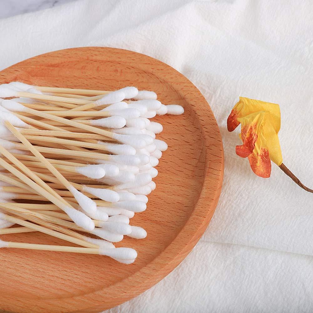 mnvxcbxv 200 St/ück Bambus-Baumwolle Tupfer Fashion Biologisch abbaubar Doppelkopf Nat/ürliche Holz Ohrtupfer Nase Ohren Reinigungsst/äbe
