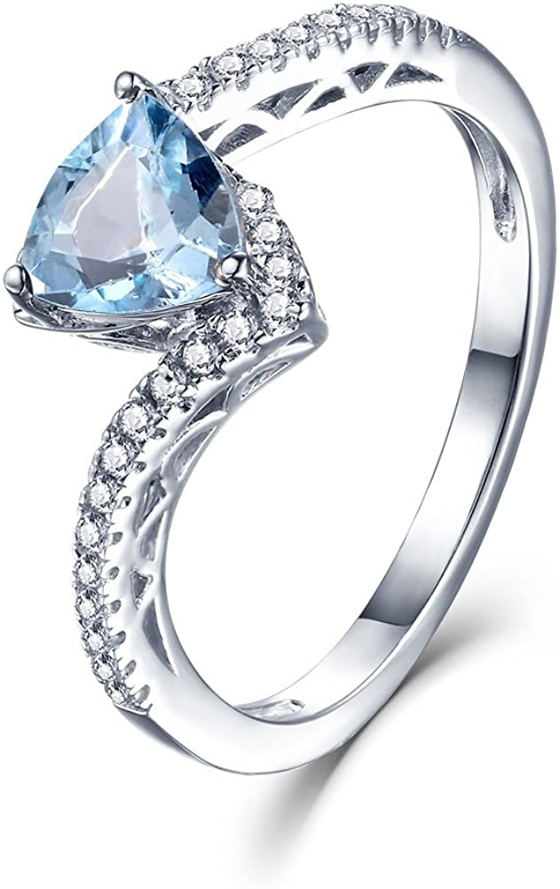 EL UNO Sterling Silver Natural Blue Topaz March Birthstone Engagement Rings for Women