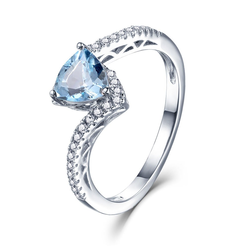Sterling Silver Bypass Twist Triangle Natural Blue Topaz March Birthstone Engagement Rings for Women (Blue, 9)