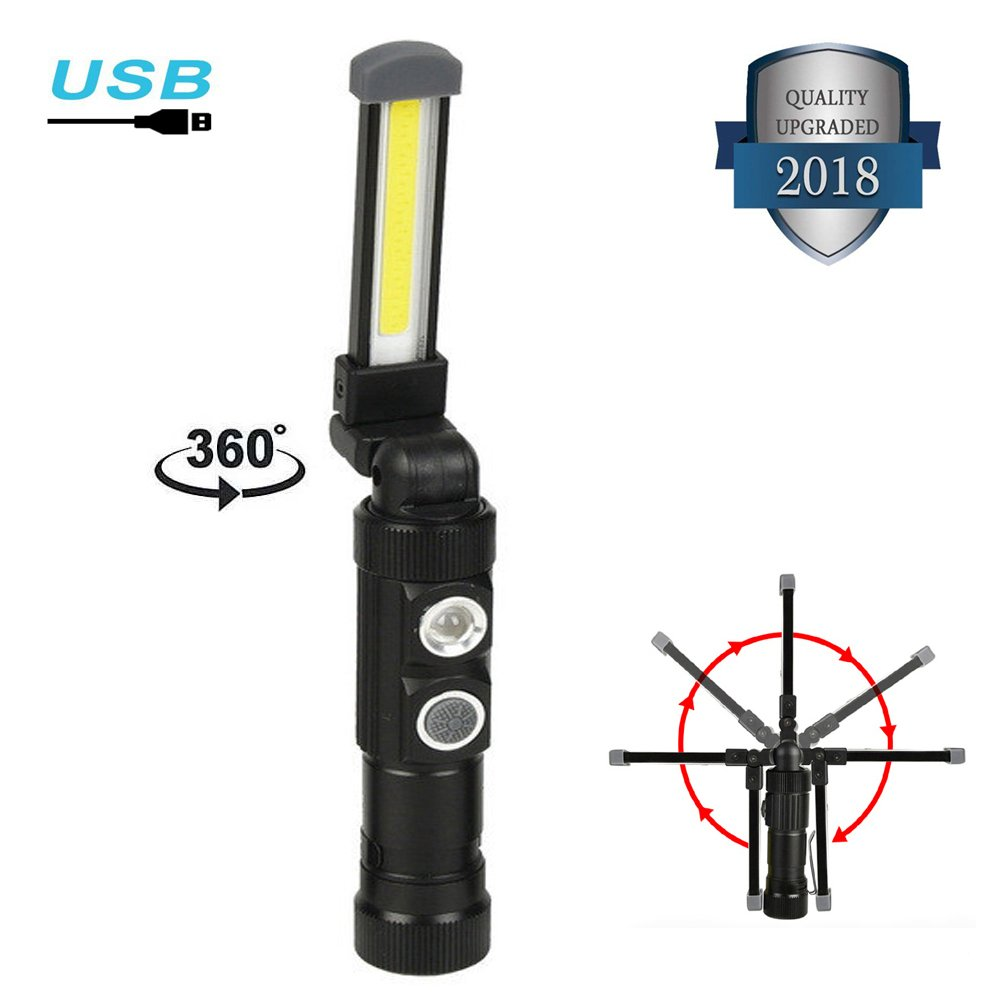 Ultra Bright LED Work Light,AstaaCity USB Rechargeable COB Portable Work Lamp with Magnetic Base Collapsible Led Flashlight,Inspection Lamp for Car Repair,Home Using,and Emergency (2018 Update) by AstaaCity (Image #1)