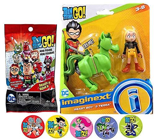 Donkey Go Teen Titans Character Figures Batman Go Beast Boy as a Donkey & Terra Action & Mini Blind Bag Adventure Cartoon Toy Super Action Stickers! Robin, Starfire, Raven, Beast Boy & Cyborg 3 Items