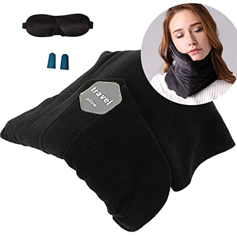 Arjaa Travel Neck Pillow With Chin Support Eye Mask Ear Plugs