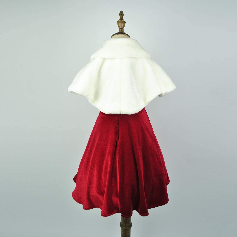 Abbyabbie.Li Girls Dress Cape Flower Princess Faux Fur Bolero Shrug Long Sleeve Jacket Kids Pompom Bridesmaid Tippet Coat Cover up for Party Wedding 1-12Y