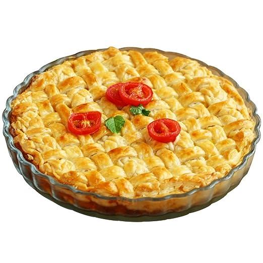 Griddles Bandeja de Pizza Redonda Resistente al Calor de Cristal ...