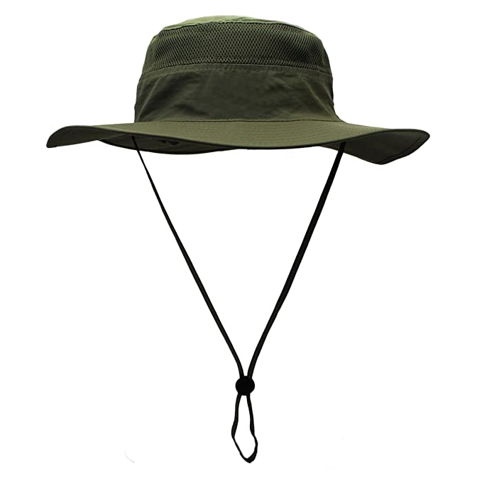 265d0148335 Sun Hat Men Women Summer Outdoor UV Outdoor UPF 50+ Protection Mesh Cap  Wide Brim Breathable Packable Hunting Fishing Beach Hat Army Green   Amazon.co.uk  ...