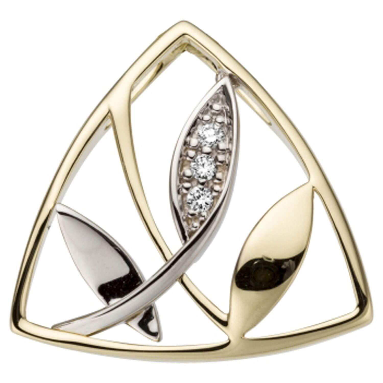 Pendentif Feuilles avec 3 diamants Or jaune 585