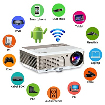 3d DLP proyector Bluetooth Wifi Mini Proyector HDMI VGA AV ...