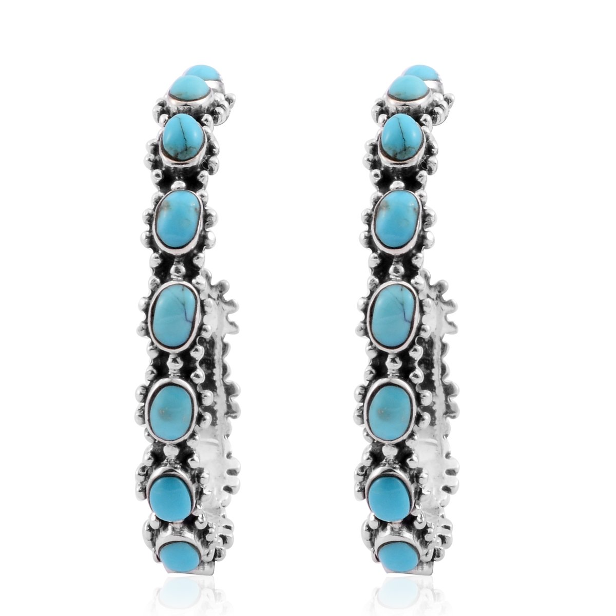 Santa Fe Style Turquoise 925 Sterling Silver Hoop Fashion Earrings For Women