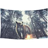 D-Story Wall Tapestry Bear And Pine Forest At Sunset Cotton Linen Tapestry Wall Hanging 60''x 40'' Wall Art Home Decor for Living room Bedroom