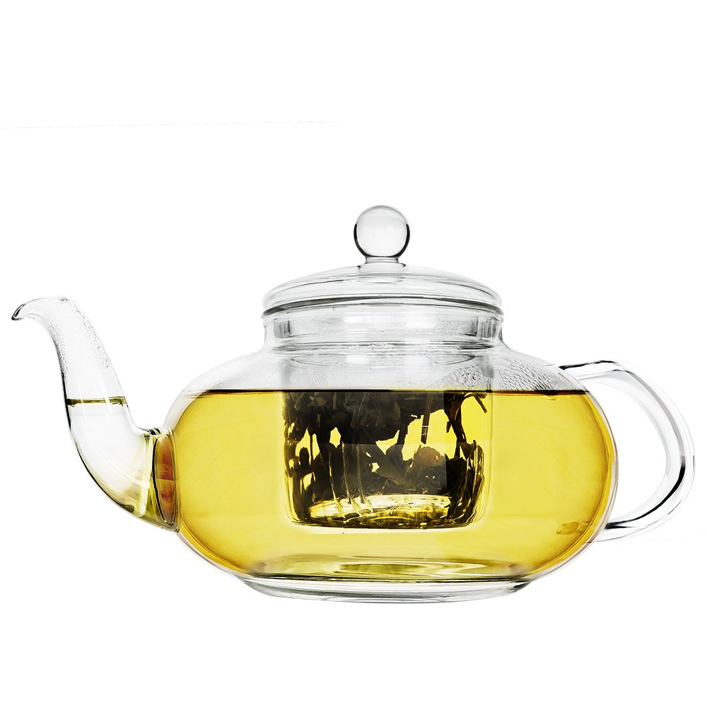 Primula Daisy Borosilicate 40oz Glass Teapot with Glass Infuser – For Loose Tea, Bagged and ...