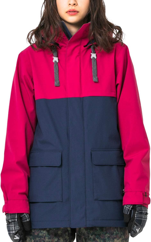 43DEGREES バイカラー ジャケット [ レディース / 全5柄 / 5サイズ展開 ] スキー スノーボードウェア (フレサーモアルファ) 発熱 防水 撥水 保温 透湿 Wine 赤/Navy LLサイズ