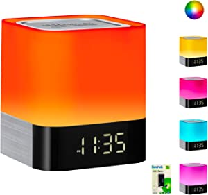 Portable Bluetooth Speaker + Music Reactive Multi-Color Touch Sensor Night Light Lamp, with LED Display, Alarm Clock, Micro SD Card & USB & AUX Slots for Smart Phone, MP3, iPad and Tablet(Upgraded)