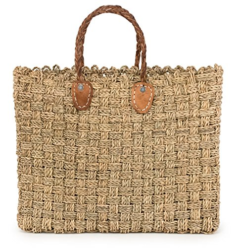 Moroccan Straw Tote Bag w/ Brown Leather Handles, 16.5