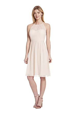 a014fc6deb Samantha Paige Spaghetti Halter Chiffon Cocktail Dress with Illusion Detail  at Amazon Women s Clothing store