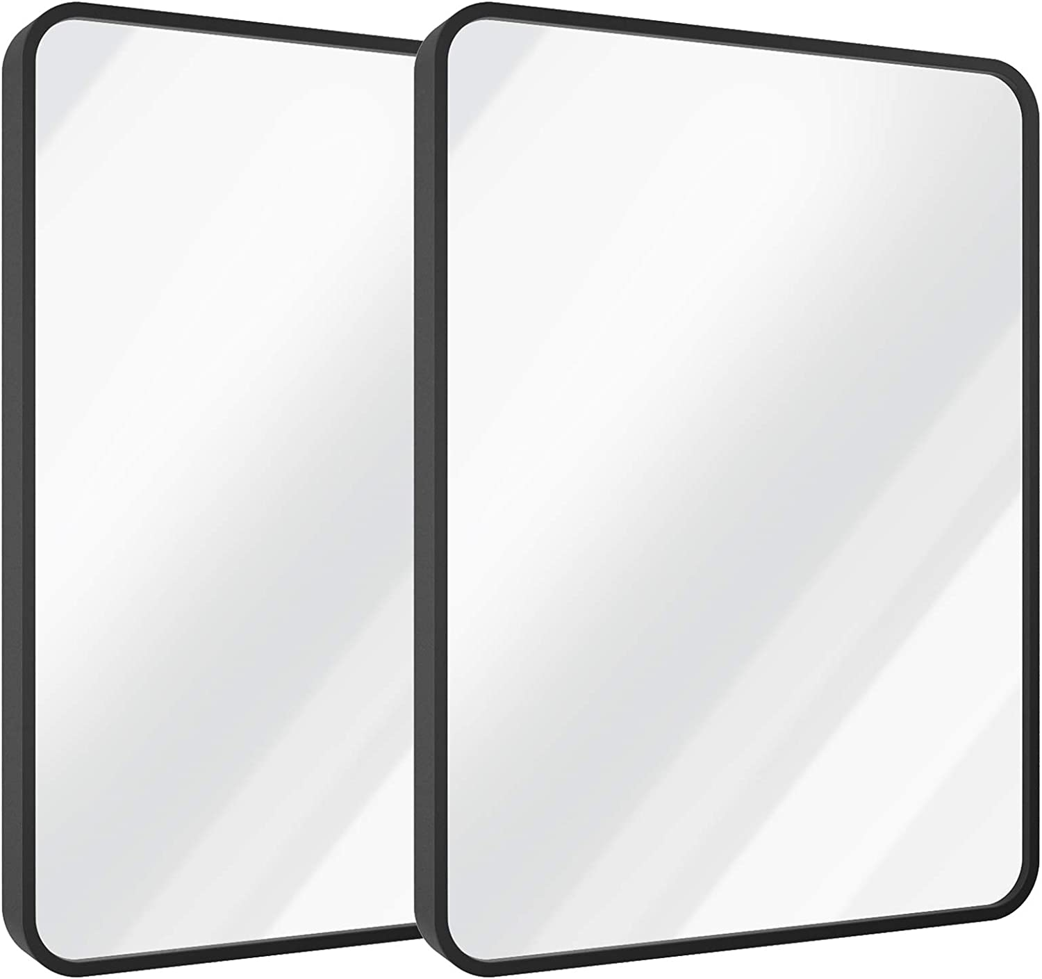 SHINESTAR 2-Pack 24x36 Inch Black Wall Mirrors for Bathroom, Rectangle Metal Frame Matte, Large Vanity Mirror for Wall Decor, Rounded Corner, Farmhouse & Modern Style