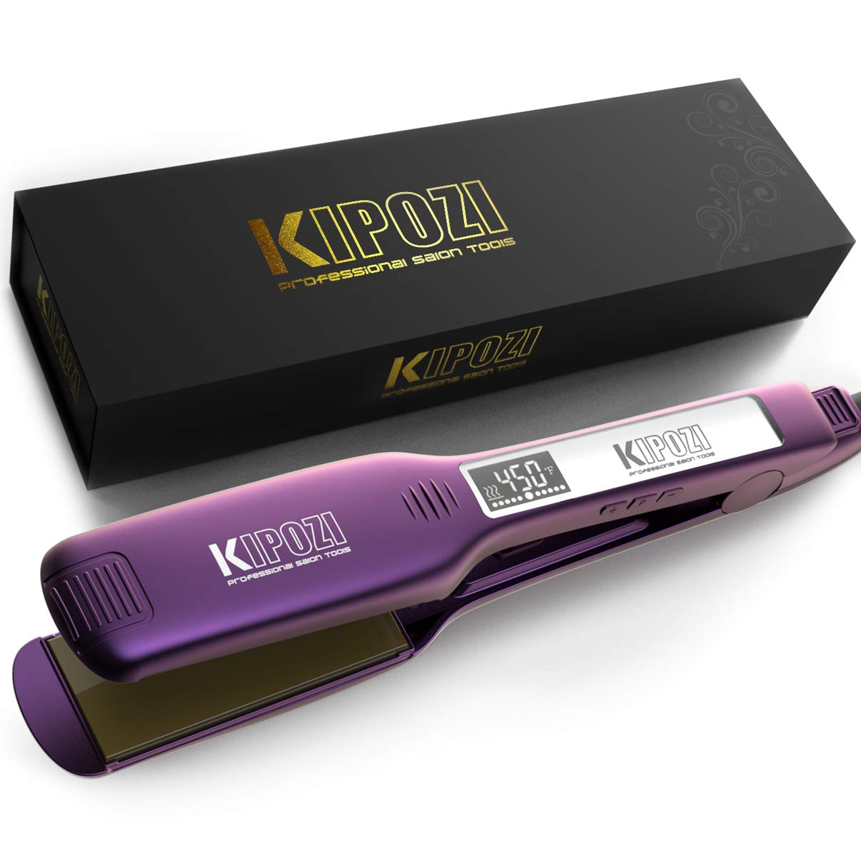 KIPOZI Professional Hair Straightener, 1.75 Inch Titanium Flat Iron for Hair Dual Voltage Flat Iron, Wide Flat Iron for Thick Hair with Adjustable Temperature & Digital LCD Screen, Purple by KIPOZI
