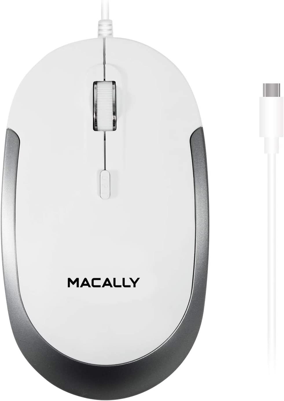 Macally Wired USB C Mouse for Mac & Windows - 3 Button & Scroll Wheel USB Type C Mouse - Comfortable Ambidextrous Design - Compact Wired Mouse with Optical Sensor & DPI Switch 800/1200/1600/2400