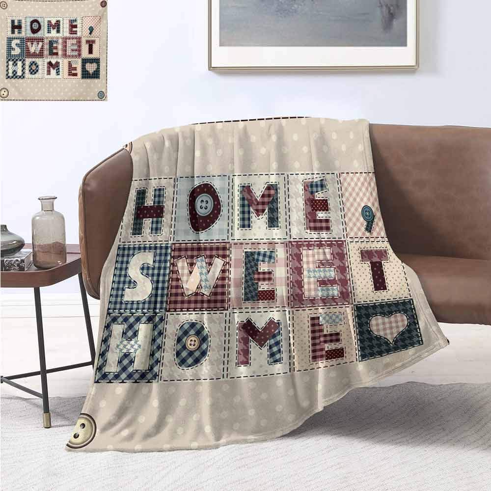 jecycleus Home Sweet Home Children's Blanket Patchwork Style Composition with Letters on Retro Polka Dots Buttons Print Lightweight Soft Warm and Comfortable W80 by L60 Inch Multicolor by jecycleus