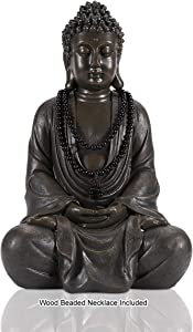 LIMEIDE Meditating Zen Buddha Statue Figurine Sitting Sculpture Decoration, Art Decoration with Natural Wood Beaded Necklace, Polyresin, Antique Bronze Look(17 Inch)