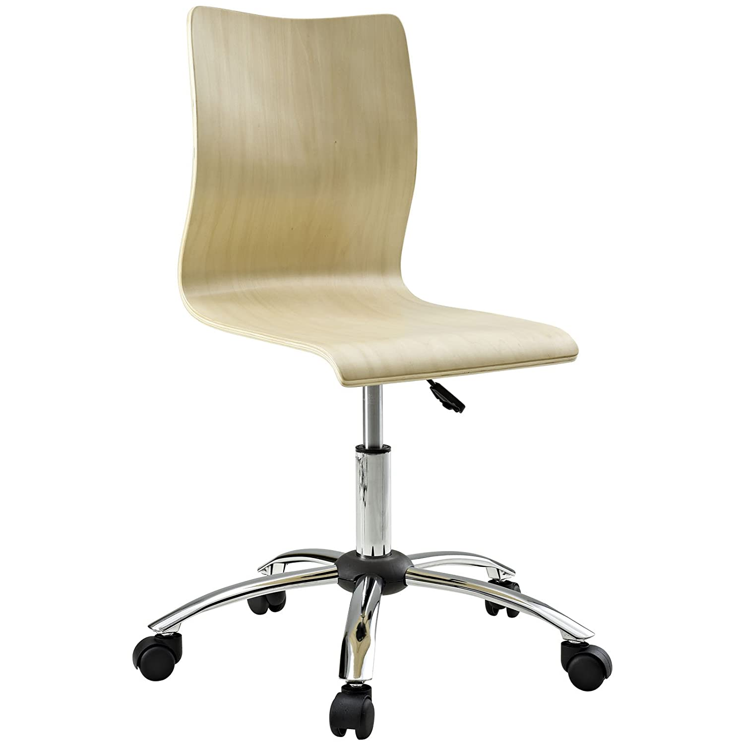 Amazon.com: Modway Fashion Plywood Swivel Office Chair in Natural ...