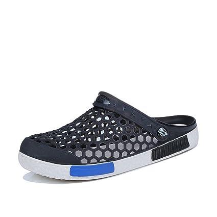Nadar Vadear Zapatos Negro / Azul Oscuro / Azul Lago Verano Hombres Parte Superior Hueca De