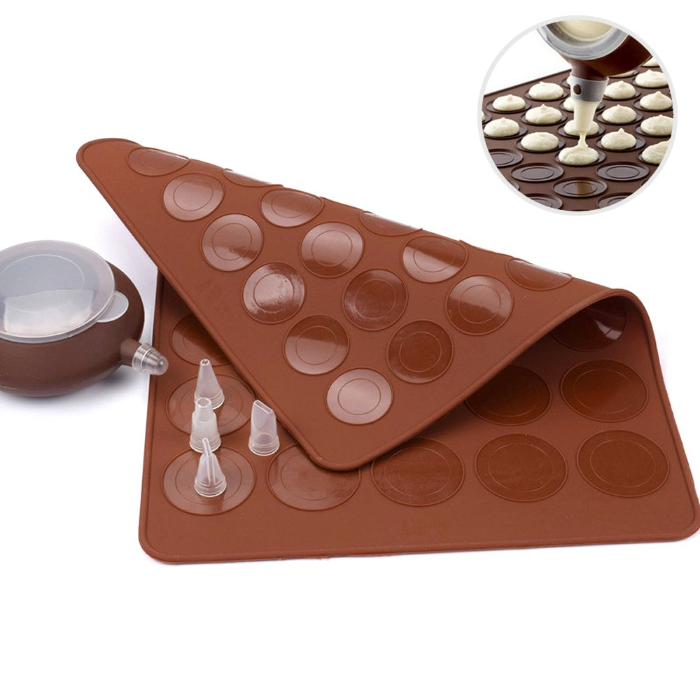 Generic Silicone Macaron Kit Baking Mold Set of Pastry Baking Mat and Decorating Piping Pot with 4pcs Nozzles Crystallove