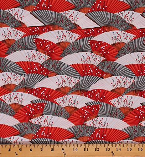 - Cotton Hanami Falls Oriental Packed Fans Floral Cotton Fabric Print by Yard Q1639-64768-319