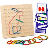 Coogam Wooden Geoboard with Activity Pattern Cards and Latex Bands - 8x8 Pin Geometry Geoboard Montessori Shape Puzzle Board Inspire Kid's Imagination and Creativity