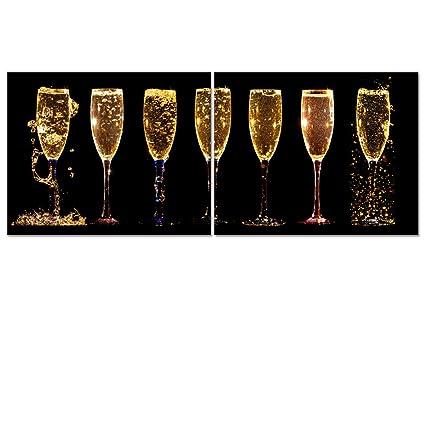 Amazon.com: Canvas Wall Art Modern Wine Glass Champagne Picture ...