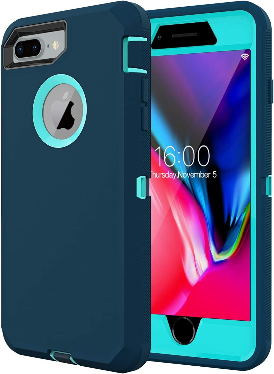 Diverbox For iPhone 8 plus Case, iPhone 7 plus Case Built-in screen protector, [Shockproof] [Dropproof] [Dust-Proof],Heavy Duty Protection Phone Case Cover for Apple iPhone 8 plus & 7 Plus (Turquoise)