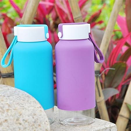 Just Life U-01194 cristal sin BPA portátil botella de agua con funda de silicona respetuoso con el medio ambiente juego de botella One unidades 14 oz (azul, amarillo, verde, puede variar): Amazon.es:
