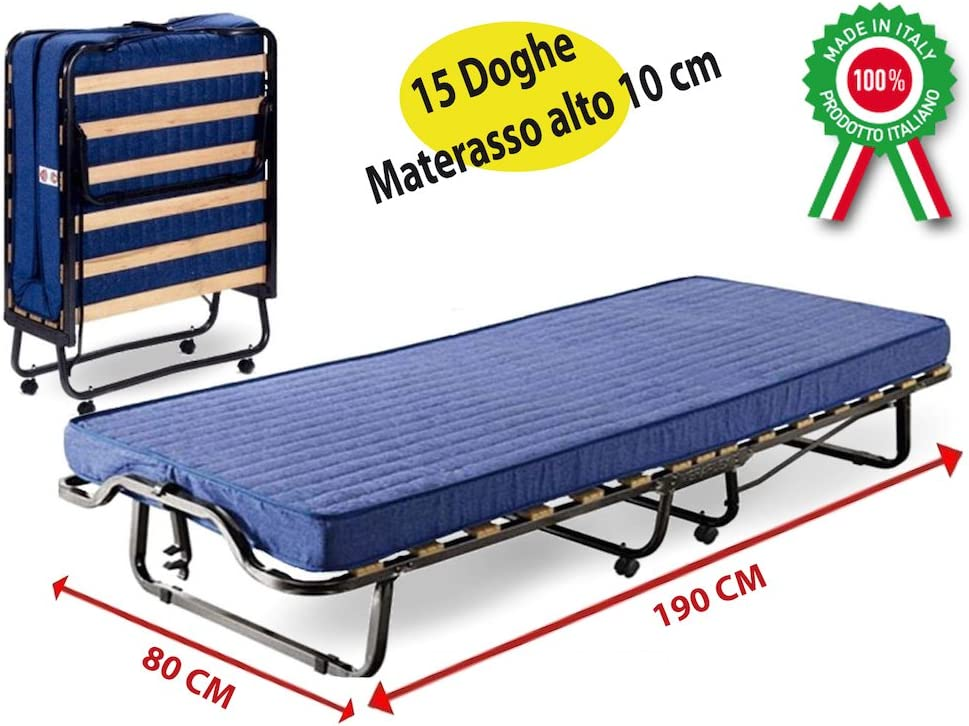 Cama Branda Brandina cama plegable de hierro óxido con ruedas y colchón para invitados Casa Camera Camping Camerata de emergencia con 15láminas (madera probado y certificado Norme europeos