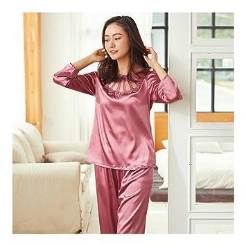 HAOLIEQUAN Pijama De Noche Pijama Conjunto Otoño Mujer Manga Larga Tops + Pantalones Largos Sexy Ropa