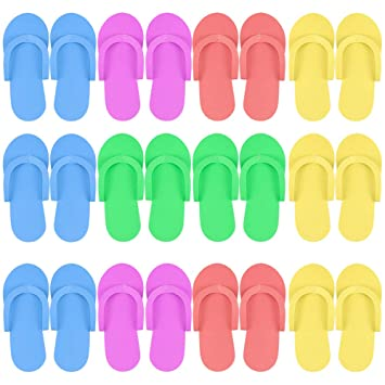 50 Pairs   Disposable Foam Pedicure Travel Spary Tan Spa Slippers Flip Flop