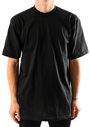 7e20b2f2 Pro Club Men's Heavyweight 100% Cotton T-Shirt Black Large-Tall