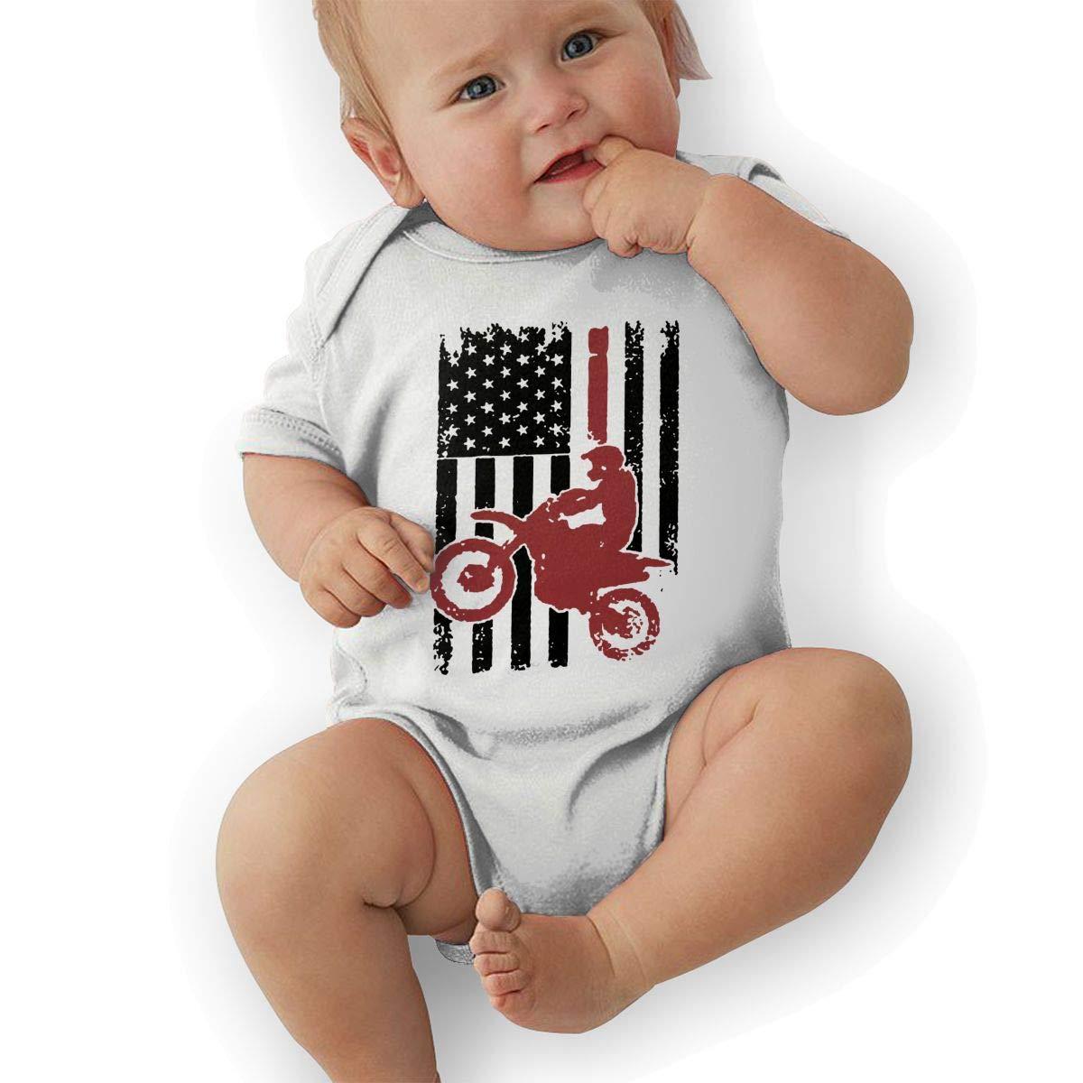 Cute USA Flag Dirtbike Motocross Jumpsuit U88oi-8 Short Sleeve Cotton Bodysuit for Unisex Baby