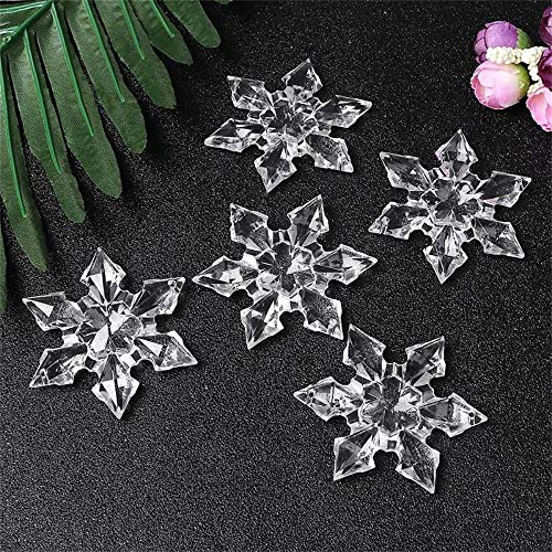 Kanhan 12 pcs Christmas Decor Clear Crystal Acrylic Snowflake Frozen for Xmas Tree Pendant DIY Decorative Craft ()