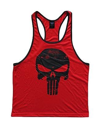 58d9e235 Amazon.com: Skull Logo Men's Stringer Tank Top Deepcut Small Red ...