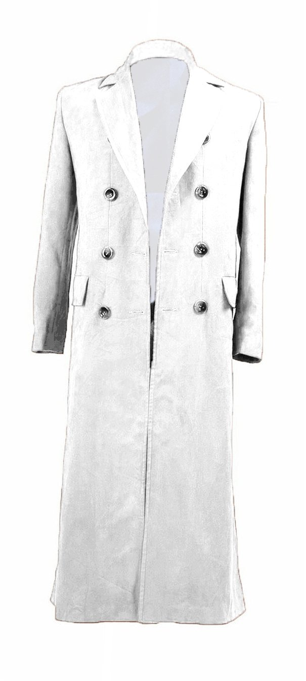 YANGGO Dr Men's Colorful Fashion Long Trench Coat Costume (Men X-Large, White)