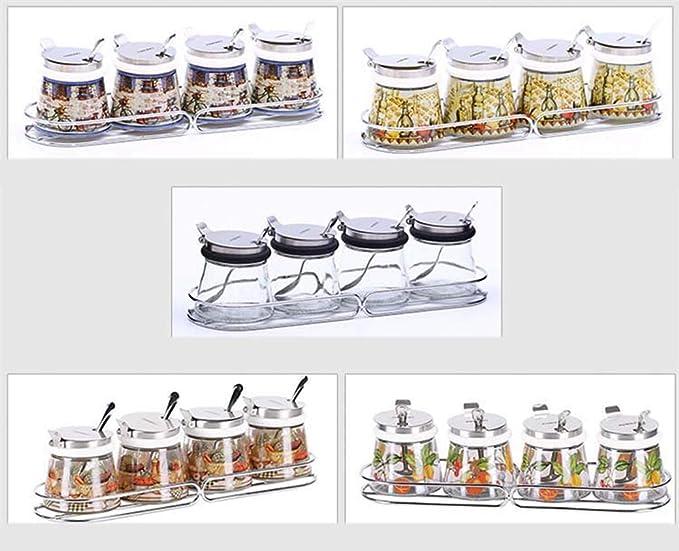 GLMAMK Tarro de Cristal sin Plomo, Sal de Pimienta Tarros de Especias MSG, recipientes de Almacenamiento de Cocina creativos (Color : Amarillo): Amazon.es: ...