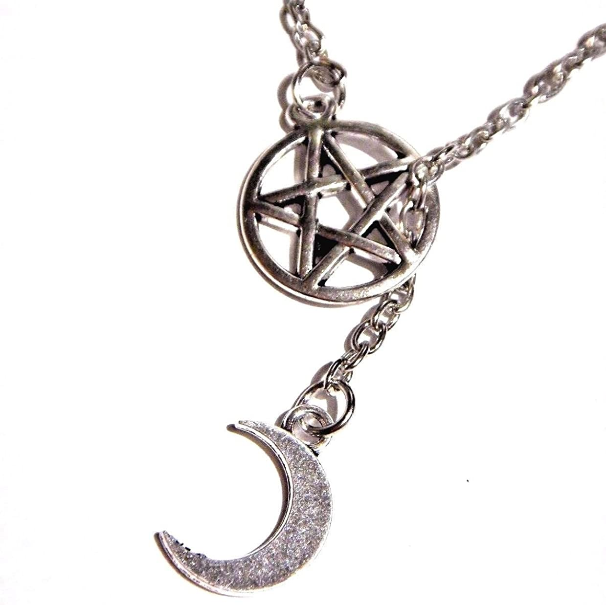 Witchy Occult Pentacle and Moons Black and Silver Gothic Necklace