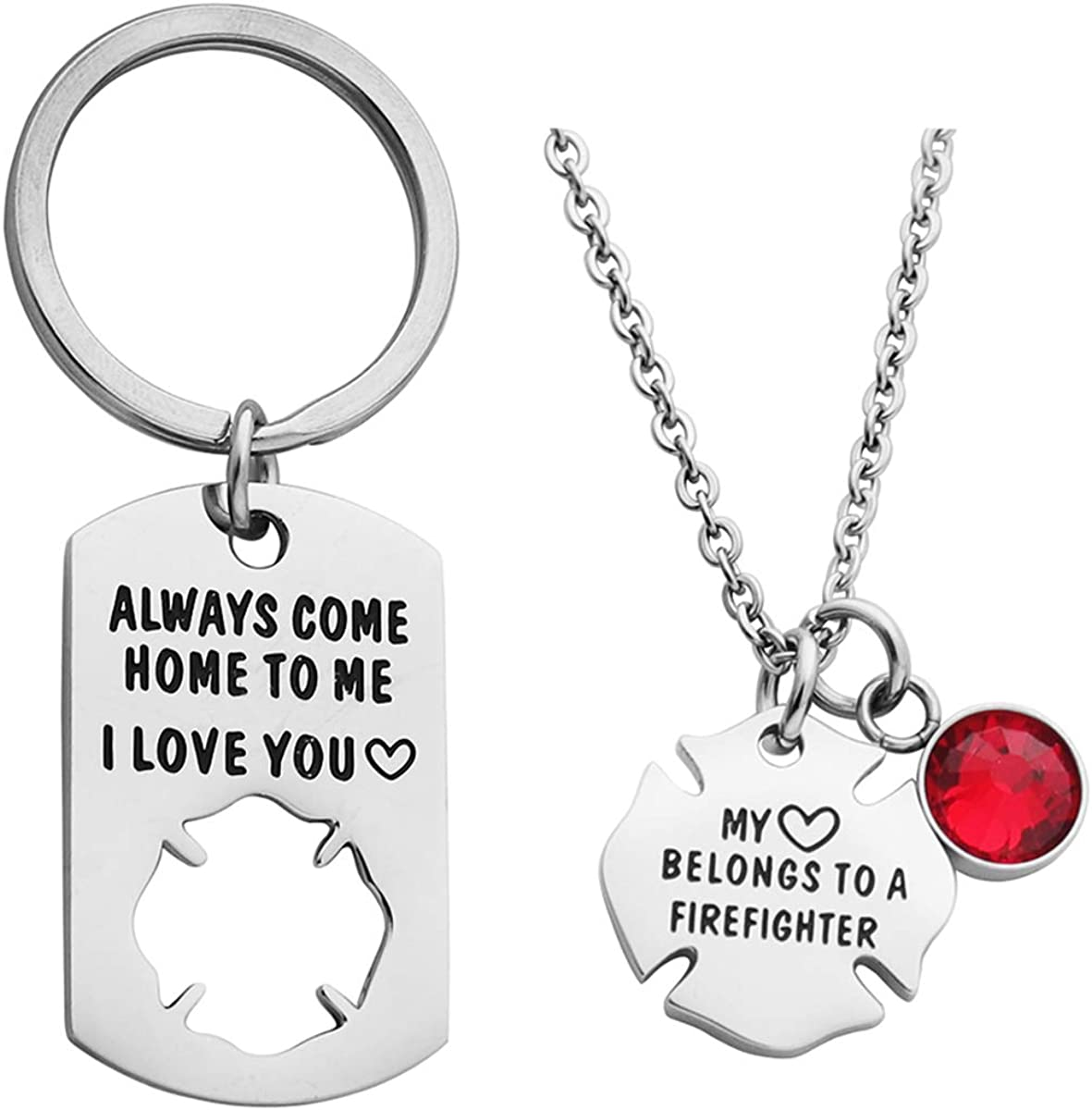 Ankiyabe Firefighter Gift Always Come Home to Me Keychain My Heart Belongs to a Firefighter Badge Necklace Fireman Husband Gift from Wife