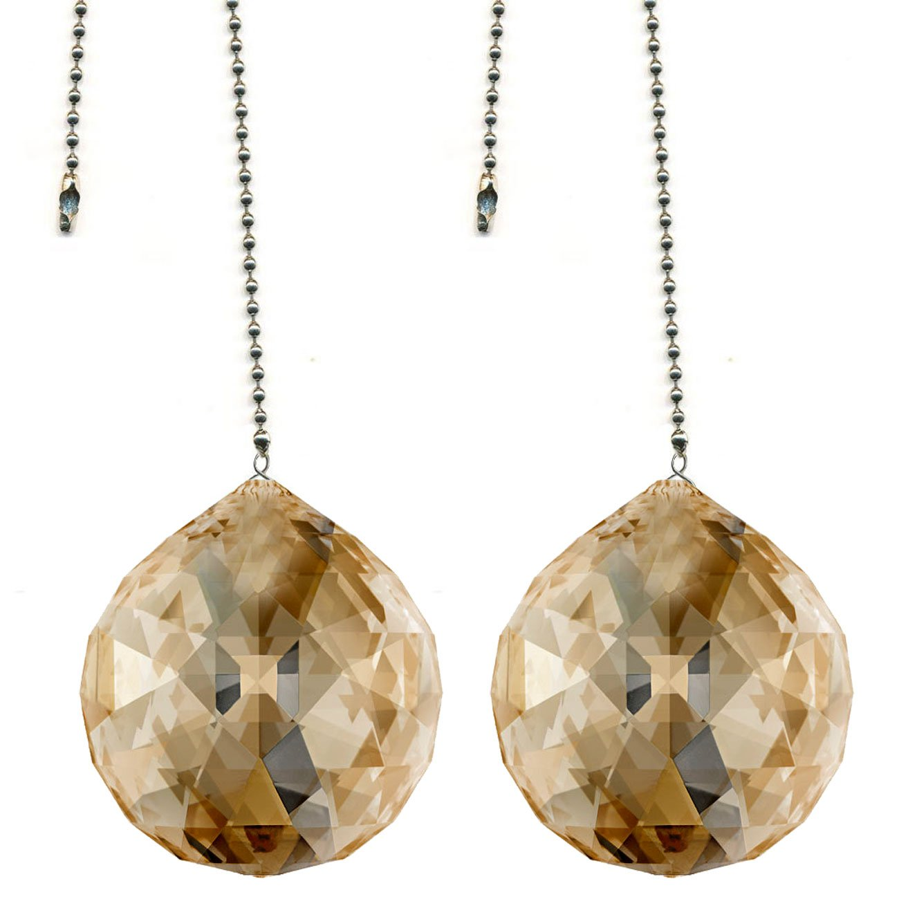 CrystalPlace Ceiling Fan Pull Chain 30mm Swarovski Strass Golden Teak Faceted Ball Prism Fan Pulley Set of 2