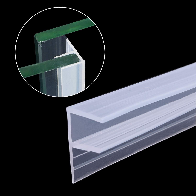 Tira de sellado inferior para mampara de ducha, 3 metros de cristal sin marco, para puerta de ducha o puerta de 6 a 8 mm de cristal de hasta 10 mm de