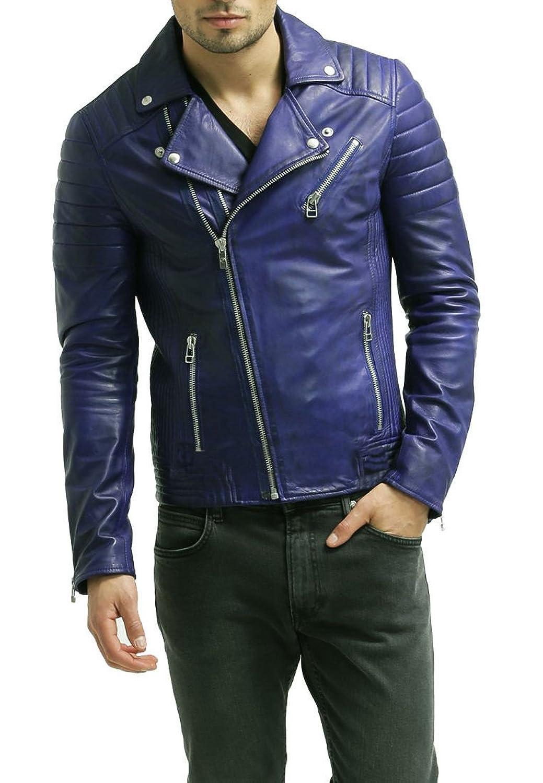 Royal Outfit Genuine Lambskin Leather Regular Fit Biker Jacket for Men - Blue