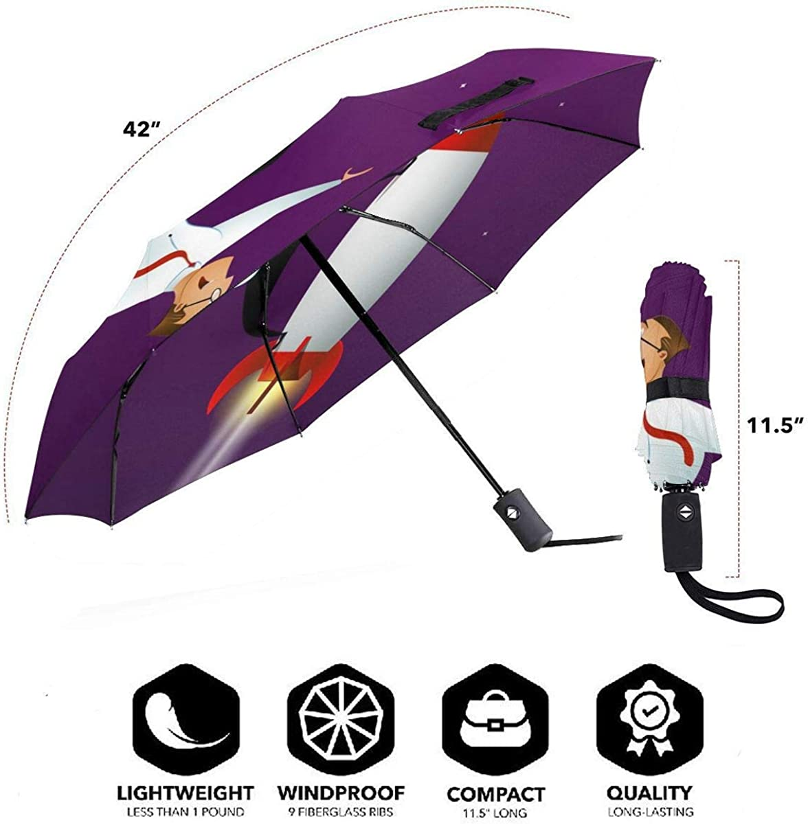 Happy Businessman Standing On Rocket Ship Compact Travel Umbrella Windproof Reinforced Canopy 8 Ribs Umbrella Auto Open And Close Button Personalized