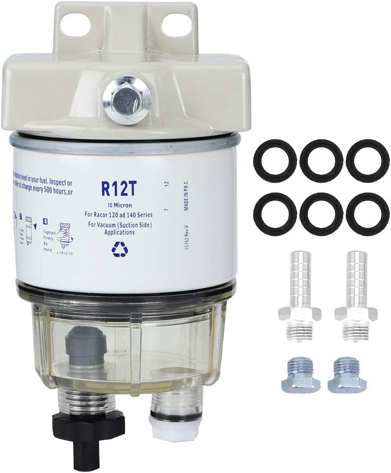 Yctze Fuel Water Separator,R12T Boat Marine Rotation Fuel Filter Water Separator Fits for Speedboat