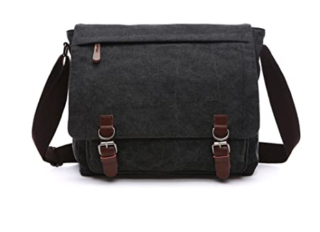 db0ae8f19 Image Unavailable. Image not available for. Color: Sechunk Canvas Leather  Messenger Bag Shoulder bag Cross ...