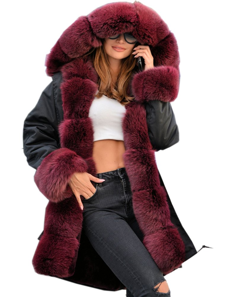 Roiii Plus Size Women Warm Fleece Vintage Winter Coat Hood Jacket Parka Outwear (L, Black Wine)